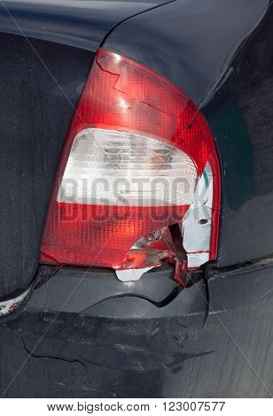 Damage bumper and headlights in the accident