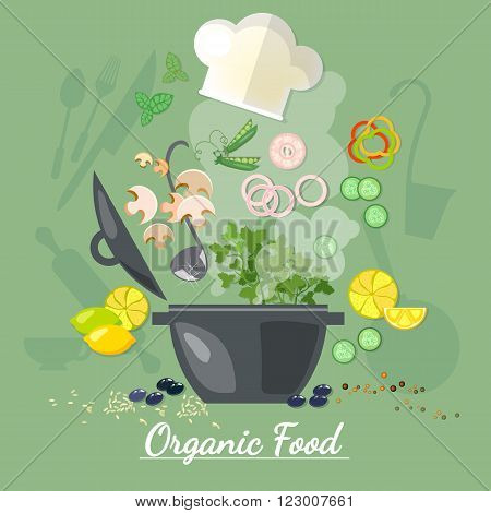Cooking food cook soup recipe vegetables fly in a pan