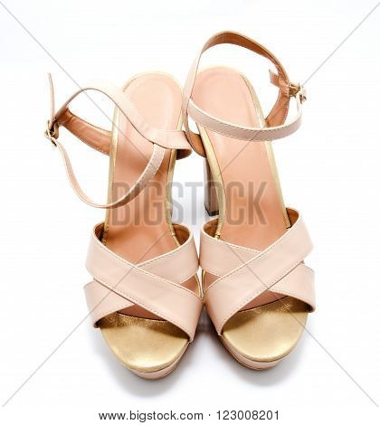 Beige high heel women shoe isolated on white a background