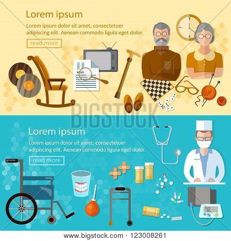 Nursing home banners social care for the elderly retirement home pension hobbies vector illustration