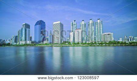 City views and lake Park in Bangkok Thailand