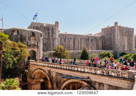 DUBROVNIK, CROATIA - APRIL 11, 2015: Many tourists visit the Old Town of Dubrovnik, a UNESCO's World Heritage Site