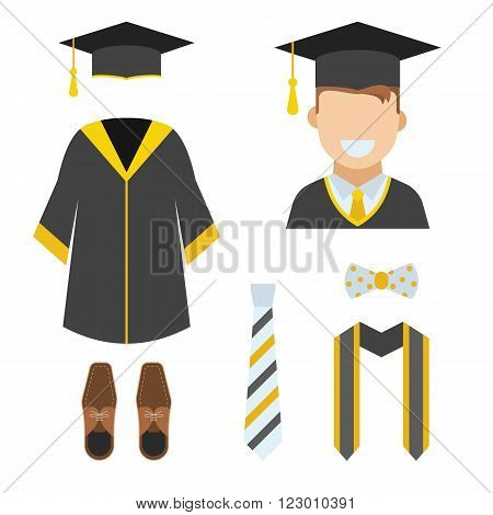 Graduation clothes and accessories set. Ceremonial gown tie ribbon shoes bow-tie and hat with happy graduate guy vector icon isolated on white. Graduation ceremony robe. Bachelor wear set.