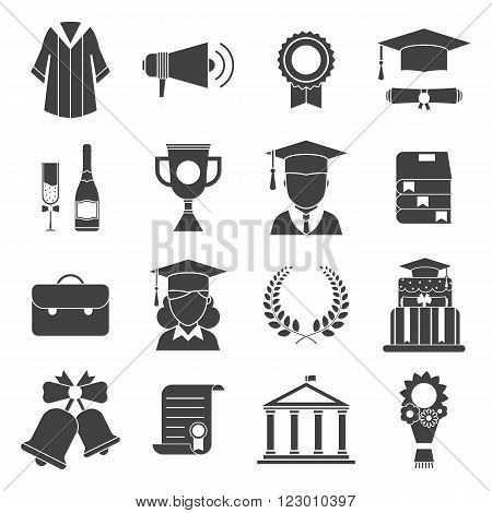 Graduation vector icon set of exam celebration elements. Man and woman graduate in hats and celebrating education party vector icons. Graduation award silhouette web icons. Hat gown student wreath