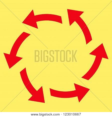 Centrifugal Arrows vector icon. Image style is flat centrifugal arrows icon symbol drawn with red color on a yellow background.