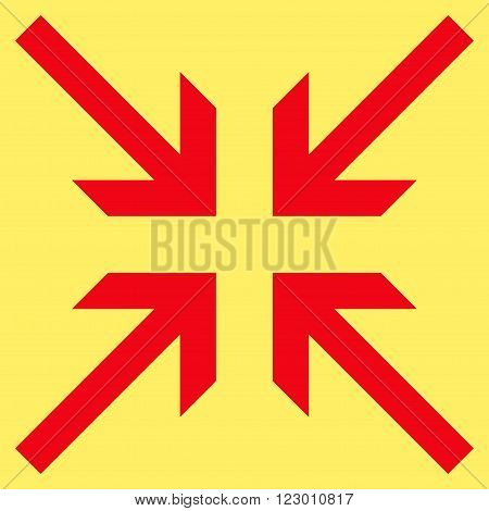 Collide Arrows vector pictogram. Image style is flat collide arrows icon symbol drawn with red color on a yellow background.