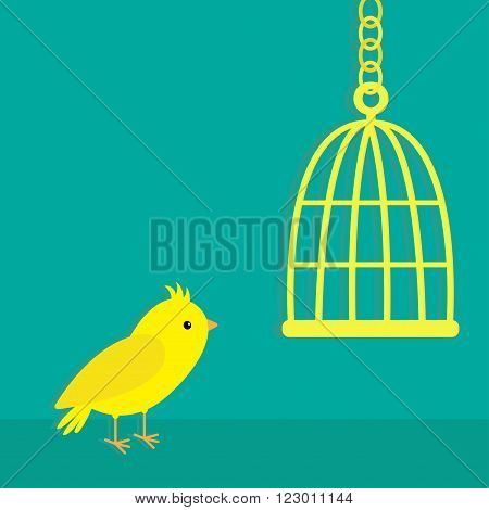 Yellow canary bird. Golden birdcage cell. Green background. Flat design style. Vector illustration