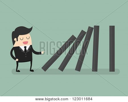 Businessman toppling dominoes. Domino effect. Business Concept Cartoon Illustration.