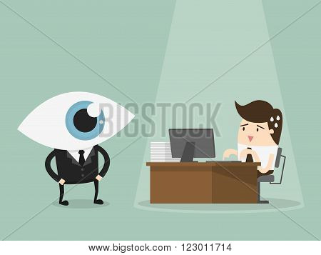 Manager overseeing businessman working on computer at the office