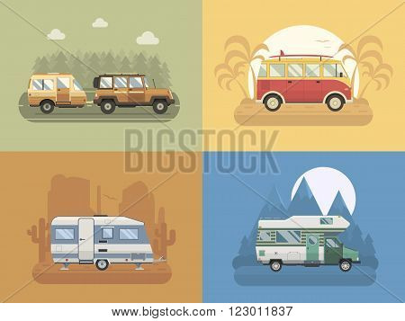 RV travel concept set. Camping trailer family caravan collection. Traveler truck campsite place landscape. Mountain park desert area palm beach and road trip. Tourist bus SUV trailer and motorhome in flat.