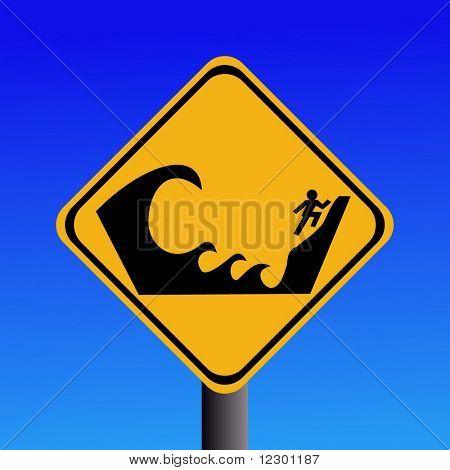 Warning Tsunami prone area seek higher ground