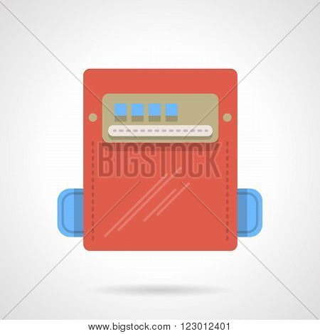 Red color power counter device with blank display. House appliances. Vector icon flat color style. Web design element for site, mobile and business.