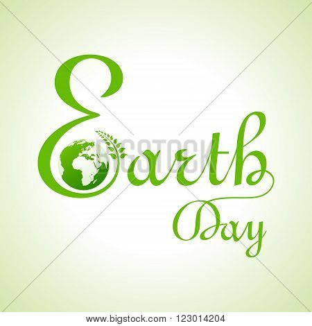 Creative happy earth day text and greeting stock vector