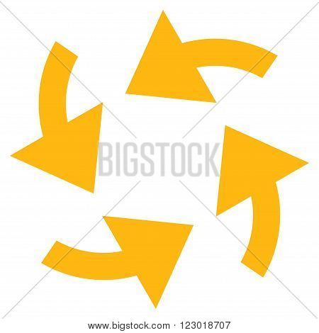 Cyclone Arrows vector pictogram. Image style is flat cyclone arrows icon symbol drawn with yellow color on a white background.