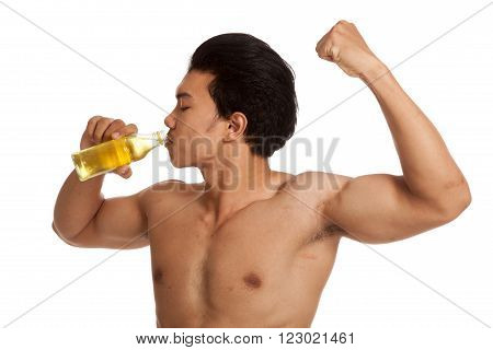 Muscular Asian Man With Electrolyte Drink  Flexing Biceps