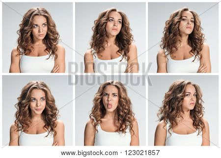 The collage from portraites of disgusted and disaffected woman on gray