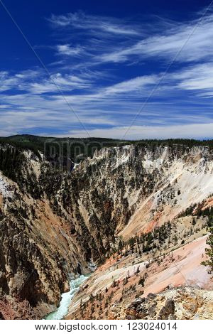 Grand Canyon of the Yellowstone River in Yellowstone National Park in Wyoming USA