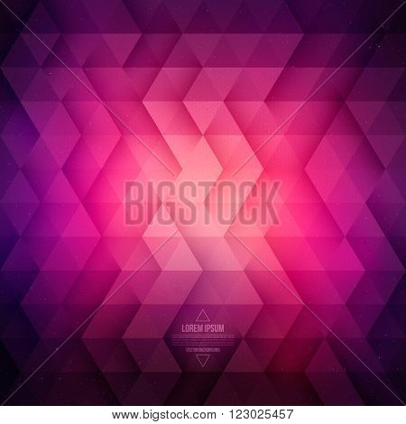 Vector technology abstract geometric background. Vector purple violet background. Vector pattern. Vector geometric structure. Triangular vector background. Retro vector background. Hipster background poster