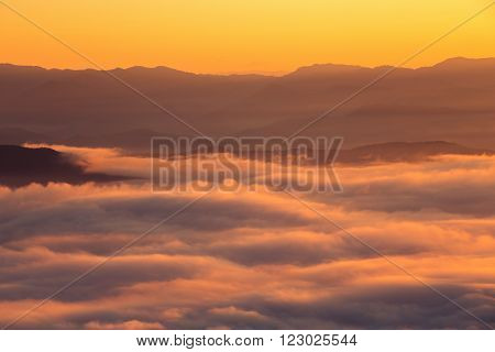Mountain and mist in morning, Chiang Mai, Thailand