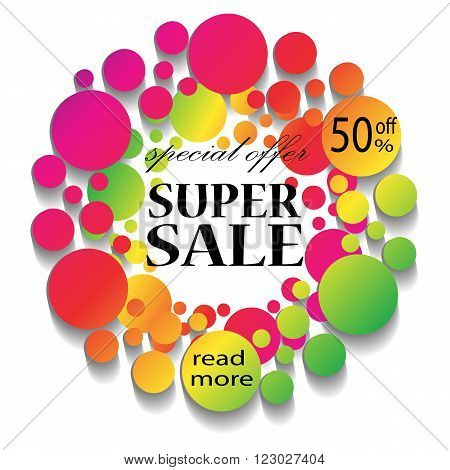 Colorful Sale Banner with text. Super Sale. Sale template. Big sale. Sale tag. Sale poster. Sale vector. Super Sale and special offer. Rainbow frame. Vector illustration