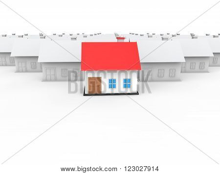 3d render of unique house in the crowd