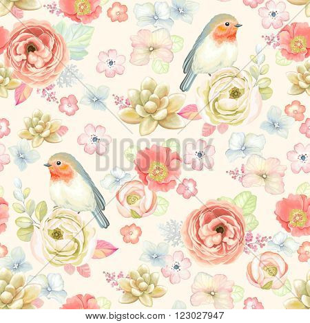 Seamless soft colorful pattern with ranunculus, succulents, bird Robin and leaves, vector floral illustration in vintage watercolor style.
