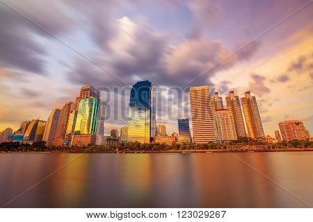 Bangkok lake cityscape skyline in beautiful evening light