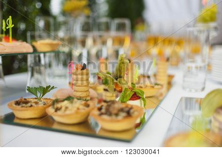 table setting banquets buffet delicious canapes holiday