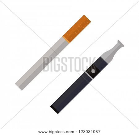 Icon cigarettes design idea and smoke cigarettes problem concept. Narcotic product cigarettes tobacco danger symbol. Cigarettes tube flat style vector illustration.