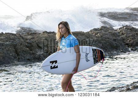 GOLD COAST, AUSTRALIA - MARCH 12 2016: Alessa Quizon (HAW) competing in the Roxy Pro at Snapper Rocks Coolangatta