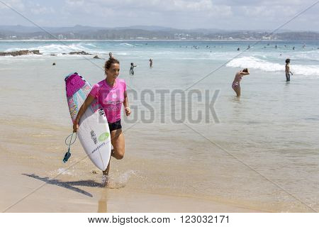 GOLD COAST, AUSTRALIA - MARCH 12 2016: Sally Fitzgibbons (AUS) competing in the Roxy Pro at Snapper Rocks Coolangatta