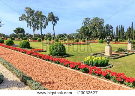 path of crushed stone with trees and shrubs around the edges in a city park poster