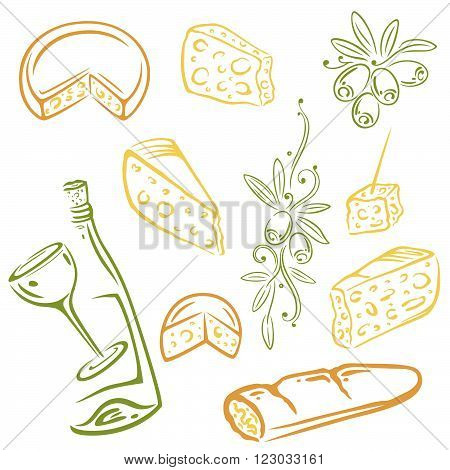 Vector set with cheese, wine and olives, design elements.