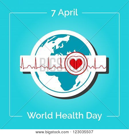 Vector linear illustration. Poster for 7 April World Health Day. The Earth in blue and white colors in flat style. Globe and normal cardiogram as a concept for World Health Day. Healthy planet.