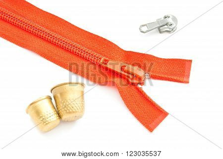 Red Zipper And Thimbles