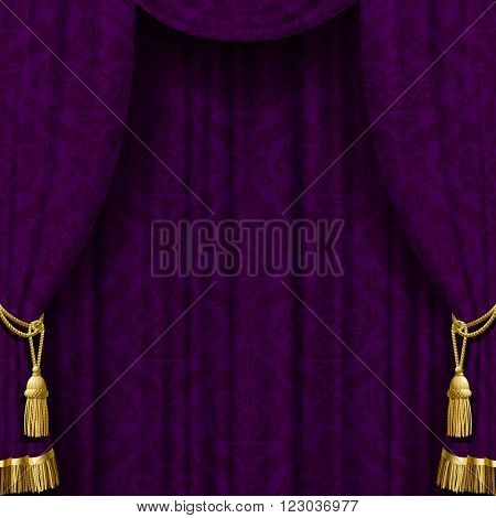 Dark violet curtain with gold tassels. Square retro theater background. Artistic poster. Vector Illustration
