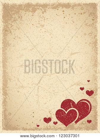 Grunge Valentine's Background with Scratched Vintage Frame and a Group of Red Hearts