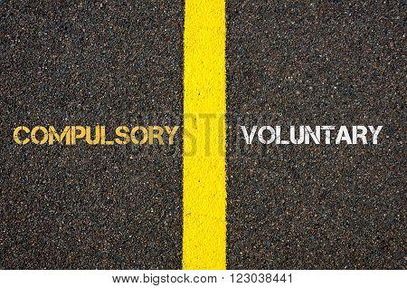 Antonym Concept Of Compulsory Versus Voluntary