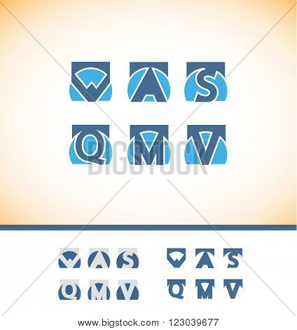 Vector company logo icon element template alphabet flat letter set square blue