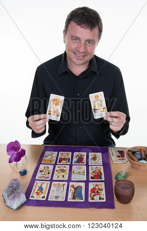 Fortune Teller Forecasting The Future With Tarot Cards Isolated