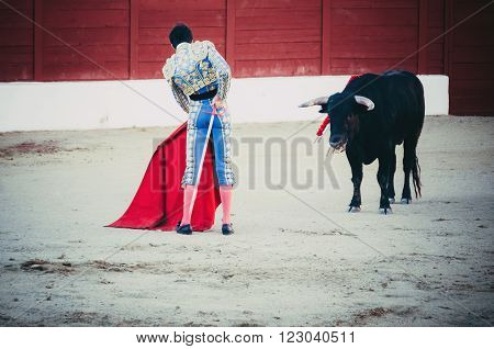 A bullfighter awaiting for the bull in the bullring. Corrida de toros