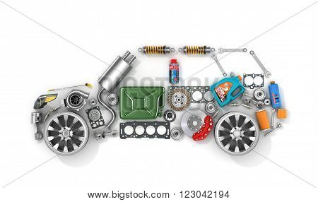 Auto parts in form of car . To use in the advertising of spare parts for passenger and sports cars.