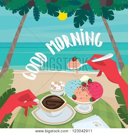 Tanned man sitting at the table and eating ice cream and drink coffee on the ocean. First-person view - Continental breakfast or lunch concept