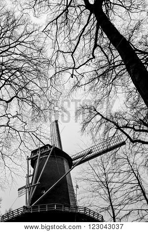 Typical Dutch windmill, black and white, in winter time