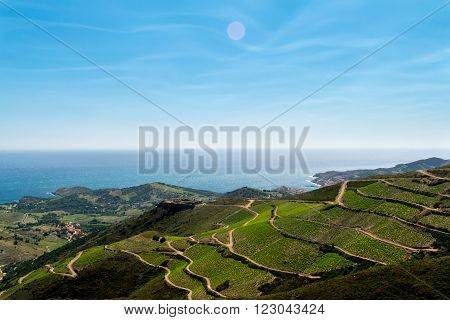 View on the mediterranean sea from the Pyrenees