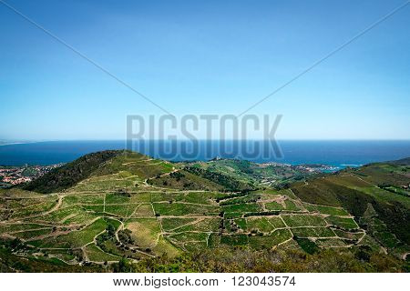 View from the french Pyrenees on the mediterranean sea