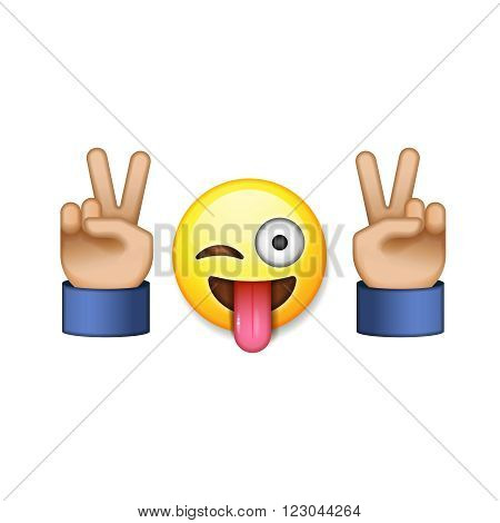 Victory sign and emoji smiling icon, vector illustration.