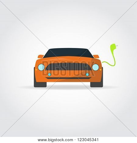 Flat illustration. Sport cars front view. Charger and plug.
