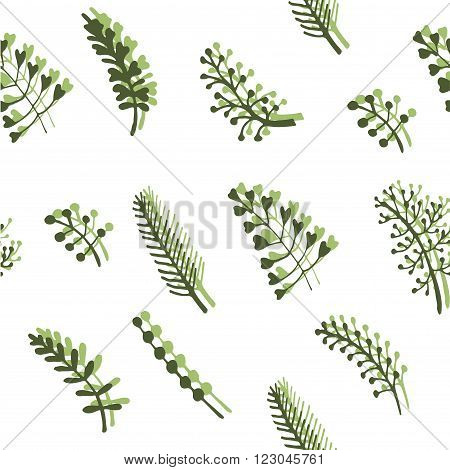 delicate spring green twigs and wild herbs seamless pattern background vector illustration poster