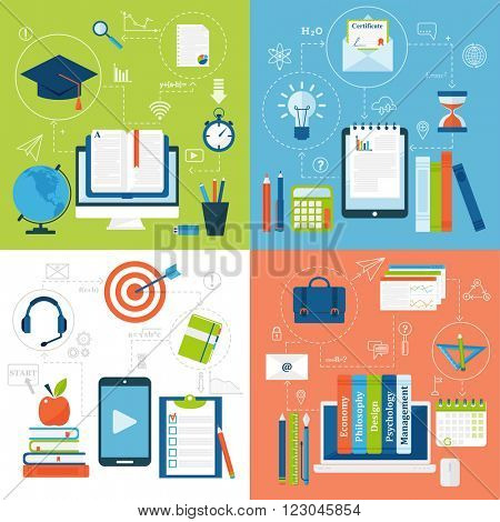 Online education flat solid icons vector set of distance education school and webinar education symbols. Online education flat style icons webinar online education. School, university
